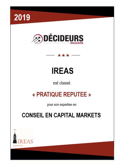 """Décideurs Magazine classe IREAS """"pratique réputé"""" pour son expertise en Conseil en capital Markets"""