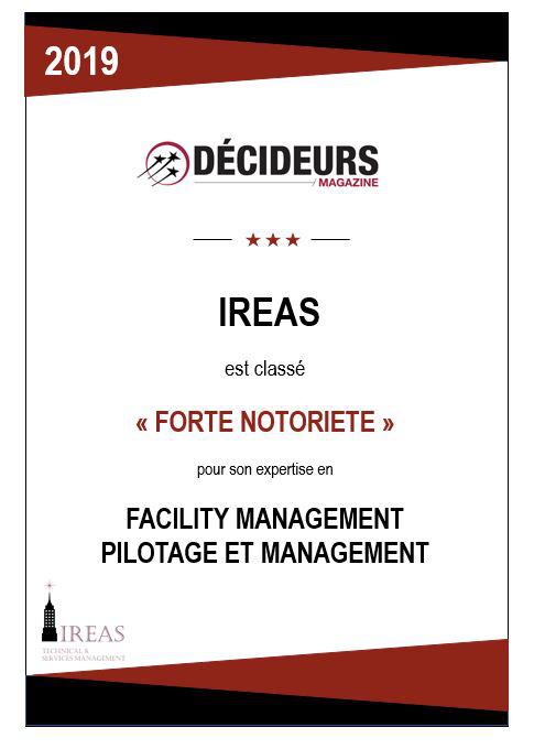 """Décideurs Magazine classe IREAS """"forte notoriété"""" pour son expertise en Facility management pilotage et management"""