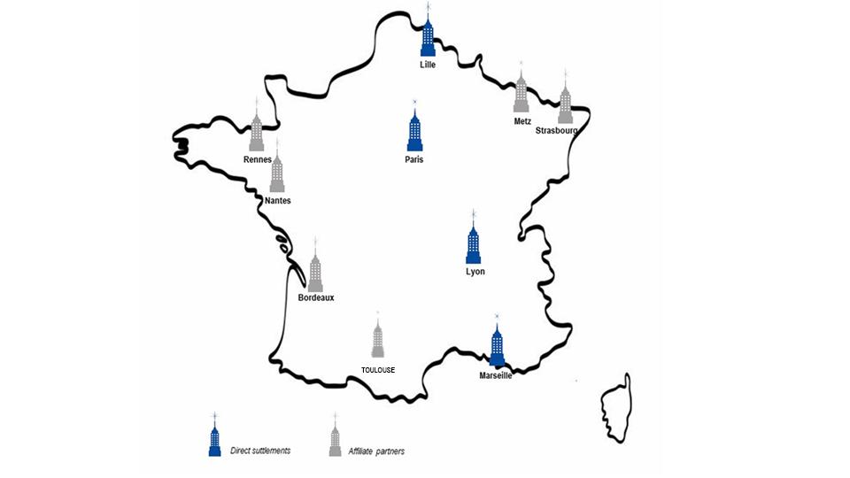 Map of offices of IREAS in France. Direct suttlements : Paris, Lyon, Marseille, Lyon. Affiliate Partners : Metz, Strasbourg, Rennes, Nantes, Bordeaux,Toulouse