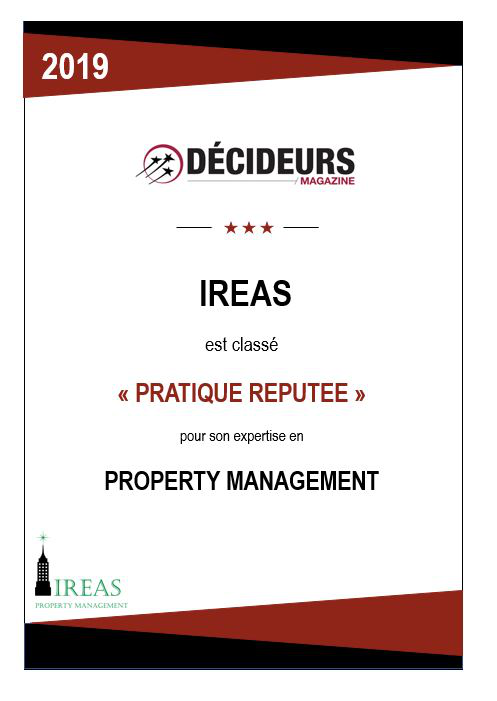 """Decideur Magazine, Ireas is ranked """"reputable practice"""" for its expertise in Property Management"""