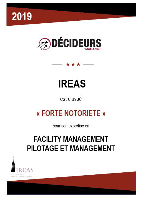 """Decideurs Magazine, Ireas is ranked """"high profile"""" for its expertise in facility management and management"""